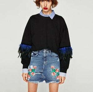 Zara  Embroidered Fringe Hem Denim Skirt Sz XS